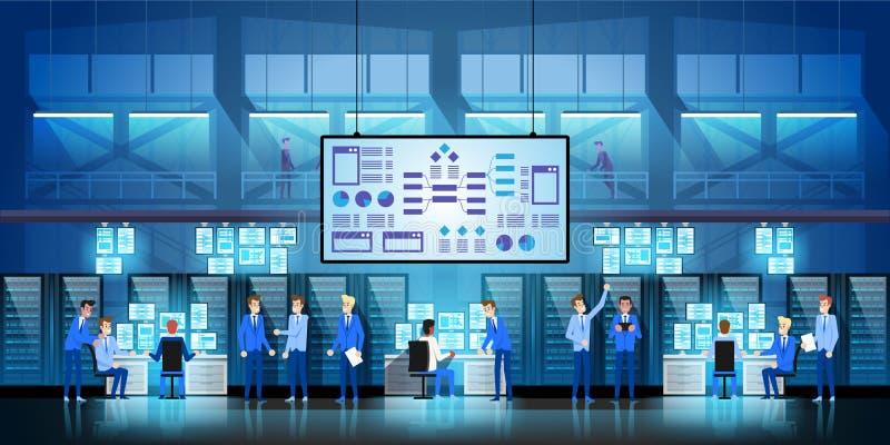 Les ingénieurs informatiques au grand centre de traitement des données travaillent sur le projet de gouvernement de nouvelle tech illustration de vecteur