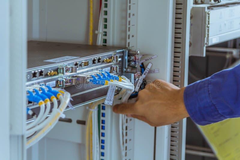 Les ingénieurs masculins examinent le câble de communication pour assurer la norme fonctionnante photos libres de droits