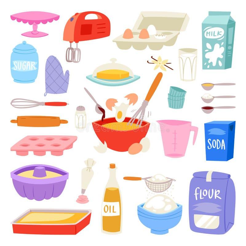 Les ingrédients de boulangerie dirigent la nourriture et la vaisselle de cuisine pour l'ensemble de cuisson de gâteau d'oeufs flo illustration libre de droits