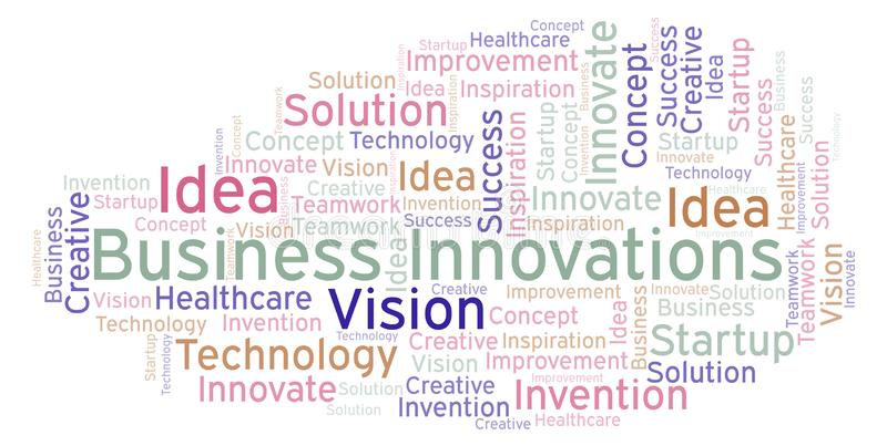 Les innovations d'affaires expriment le nuage, fait avec le texte seulement illustration libre de droits