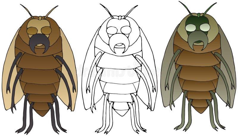 Les insectes de bande dessinée de monstre gribouillent l'art effrayant d'ensemble tiré par la main de couleur illustration libre de droits