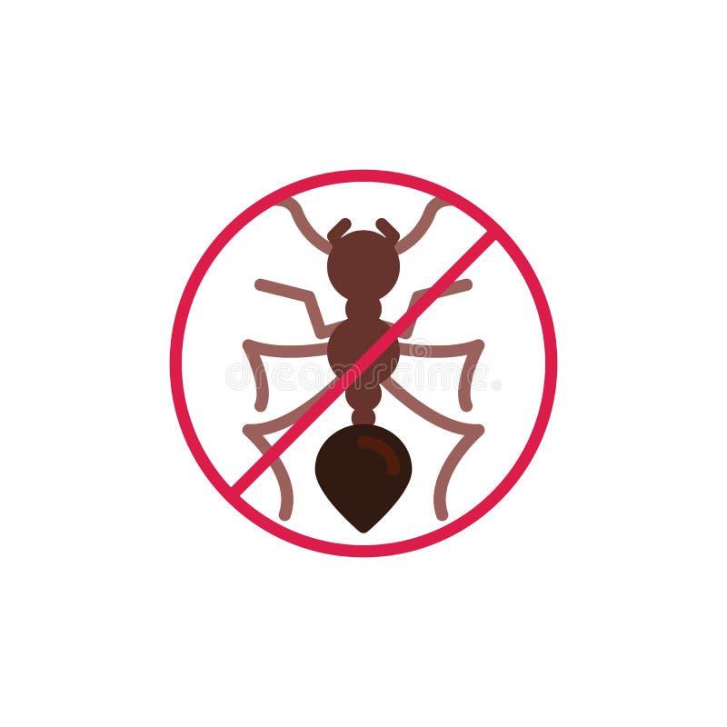 Les insectes de fourmi ont interdit l'icône plate illustration libre de droits