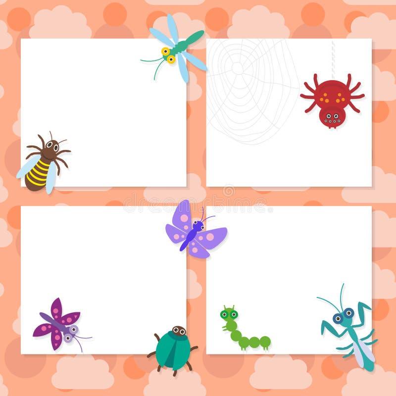 Les insectes drôles ont placé le design de carte de coccinelles de guêpe de scarabée de mante de libellule de chenille de papillo illustration stock