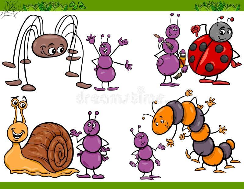Les insectes heureux ont placé l'illustration de bande dessinée illustration libre de droits