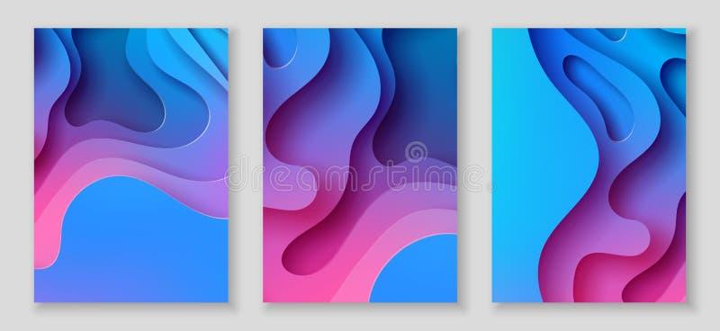 Les insectes A4 verticaux avec le fond du résumé 3D avec le papier ont coupé les vagues bleues Disposition de conception de vecte illustration libre de droits