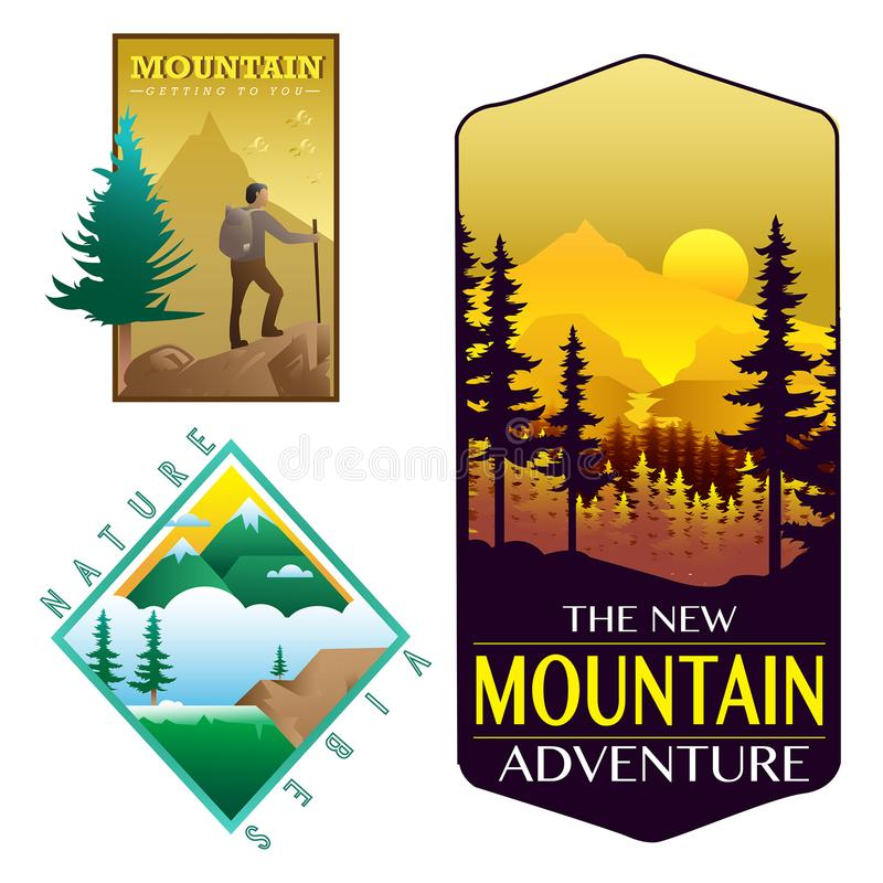 Les insignes aménagent la conception en parc de forêt de montagne de nature illustration libre de droits