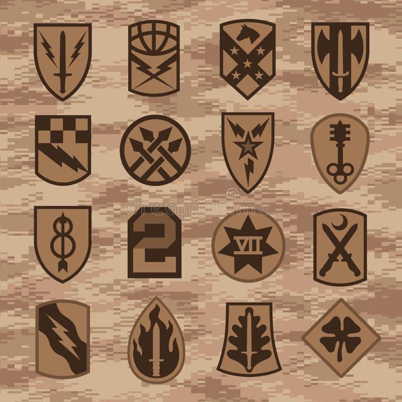 Les insignes de correction d'unité militaire ont placé sur le camouflage bronzage illustration libre de droits