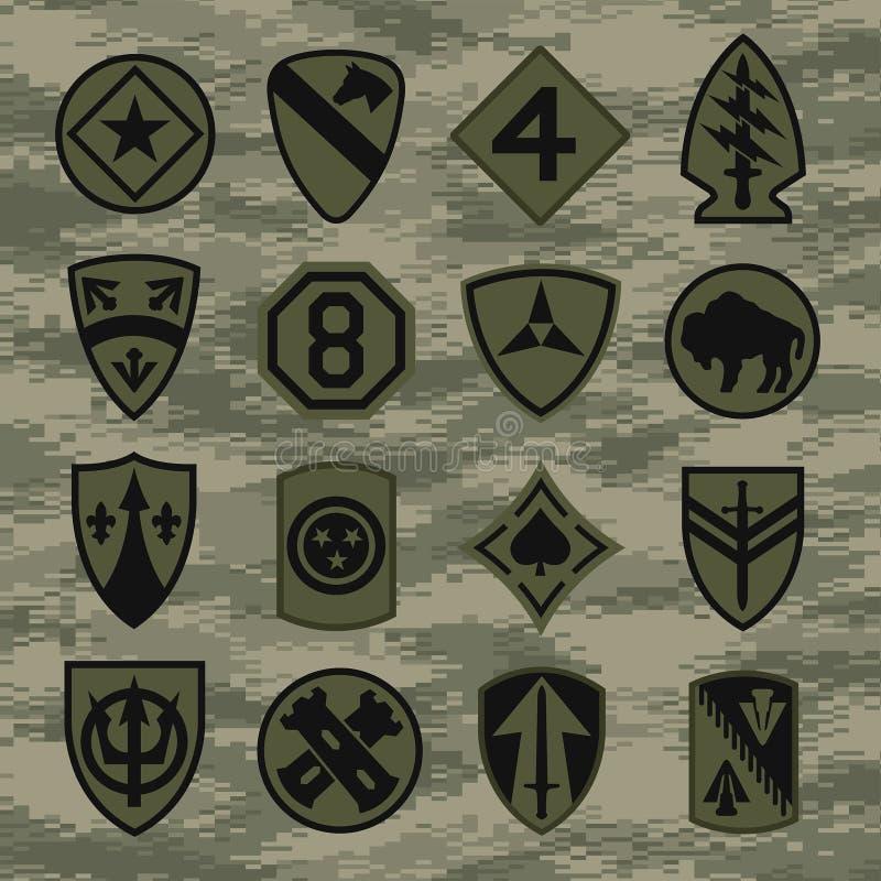 Les insignes de correction d'unité militaire ont placé sur le camouflage vert illustration de vecteur