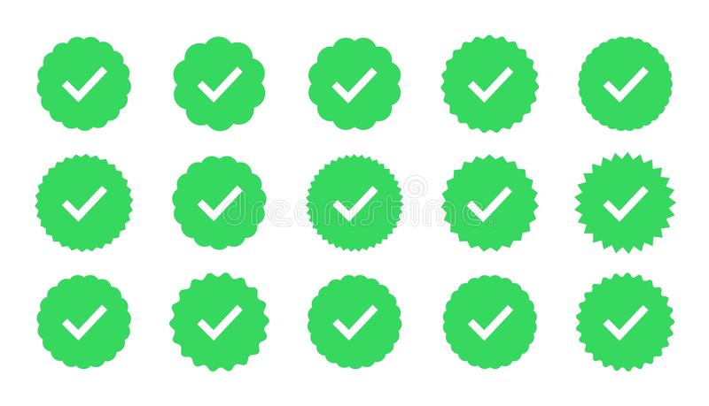 Les insignes de vecteur de la garantie, approbation, acceptent et qualité illustration libre de droits