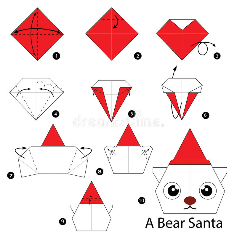 Les instructions étape-par-étape comment faire l'origami soutiennent Santa illustration de vecteur
