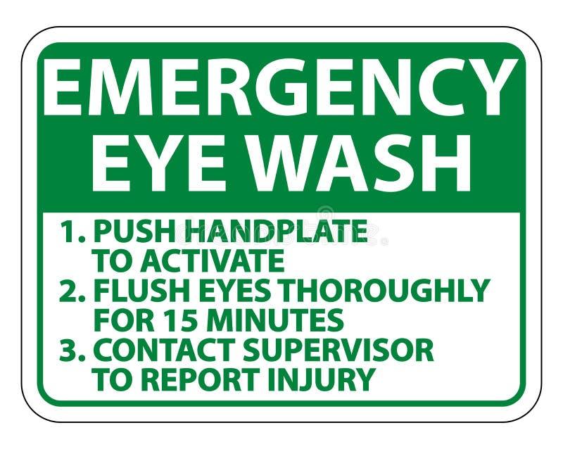 Les instructions de lavage d'oeil de secours signent l'isolat sur le fond blanc, illustration de vecteur illustration libre de droits