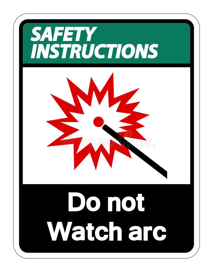 Les instructions de sécurité font pas l'isolat de signe de symbole d'arc de montre sur le fond blanc, illustration de vecteur illustration stock
