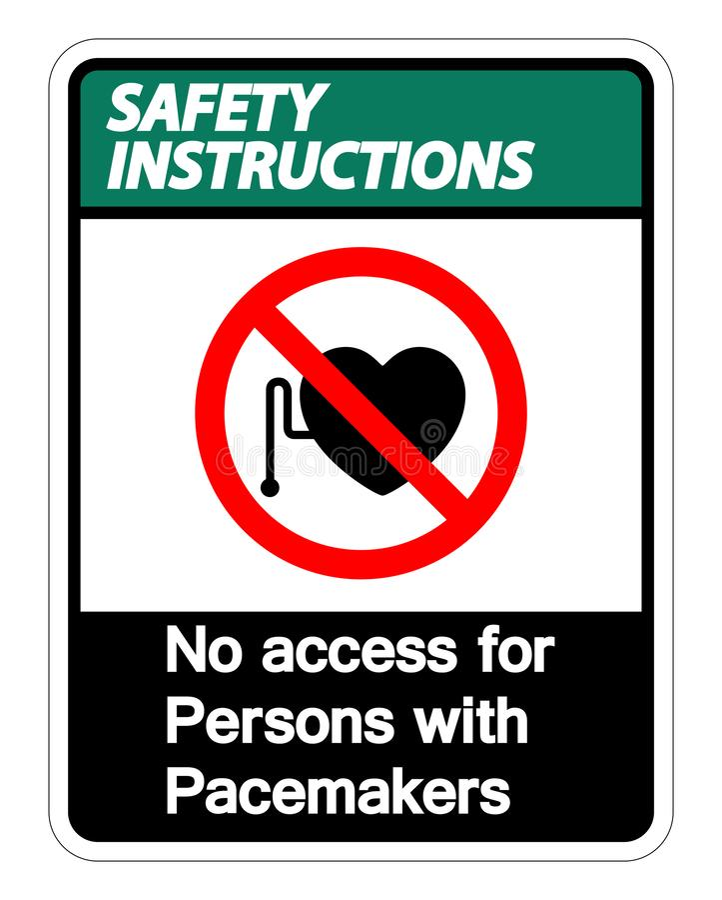Les instructions de sécurité n'accèdent non pour des personnes avec l'isolat de signe de symbole de stimulateur sur le fond blanc illustration libre de droits