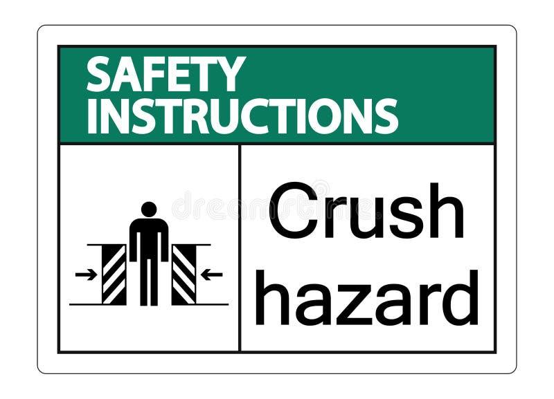 les instructions de sécurité de symbole écrasent le risque se connectent le fond blanc illustration libre de droits