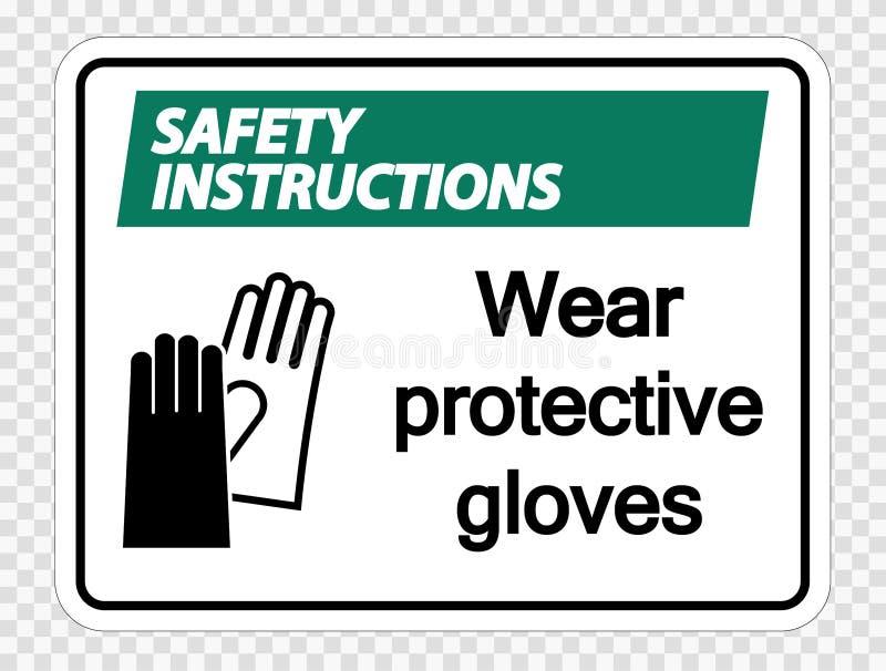 les instructions de sécurité de symbole portent les gants protecteurs se connectent le fond transparent illustration de vecteur