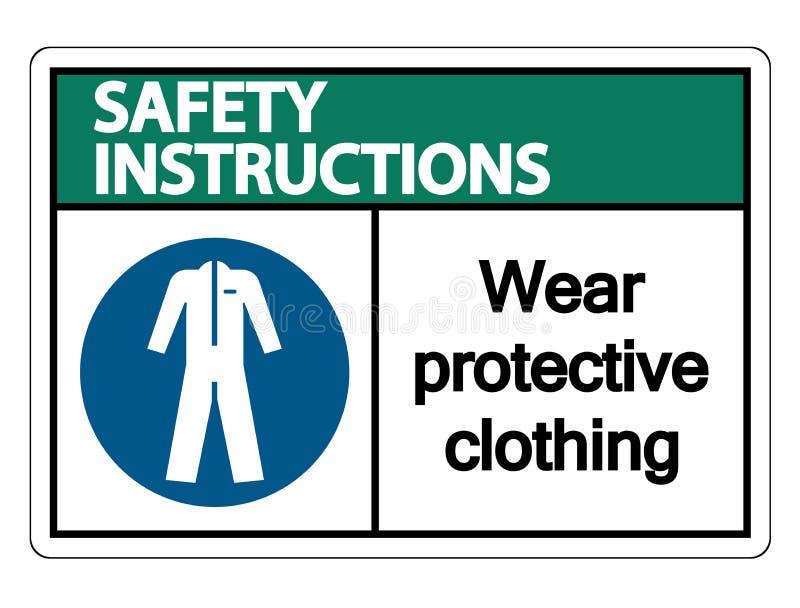 les instructions de sécurité de symbole portent les vêtements de protection pour se connecter le fond blanc illustration de vecteur