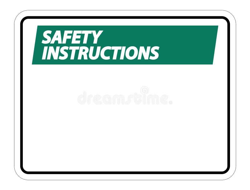 les instructions de sécurité de symbole signent le label sur le fond blanc illustration de vecteur