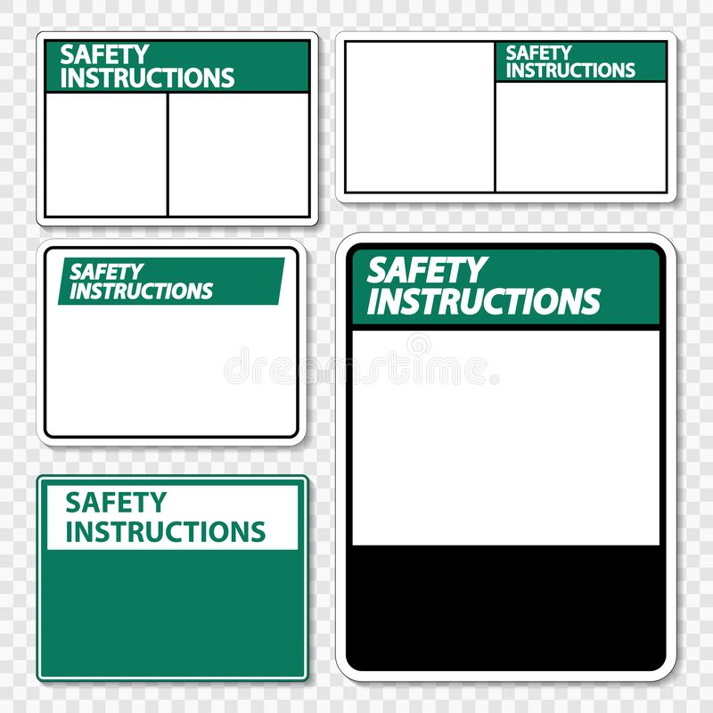 les instructions de sécurité de symbole signent le label sur le fond transparent illustration de vecteur