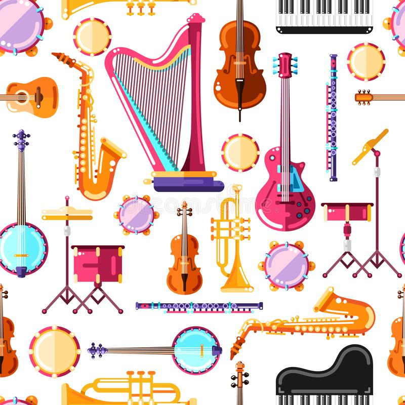 Les instruments de musique dirigent le modèle sans couture Conception colorée de fond pour la copie de textile illustration de vecteur