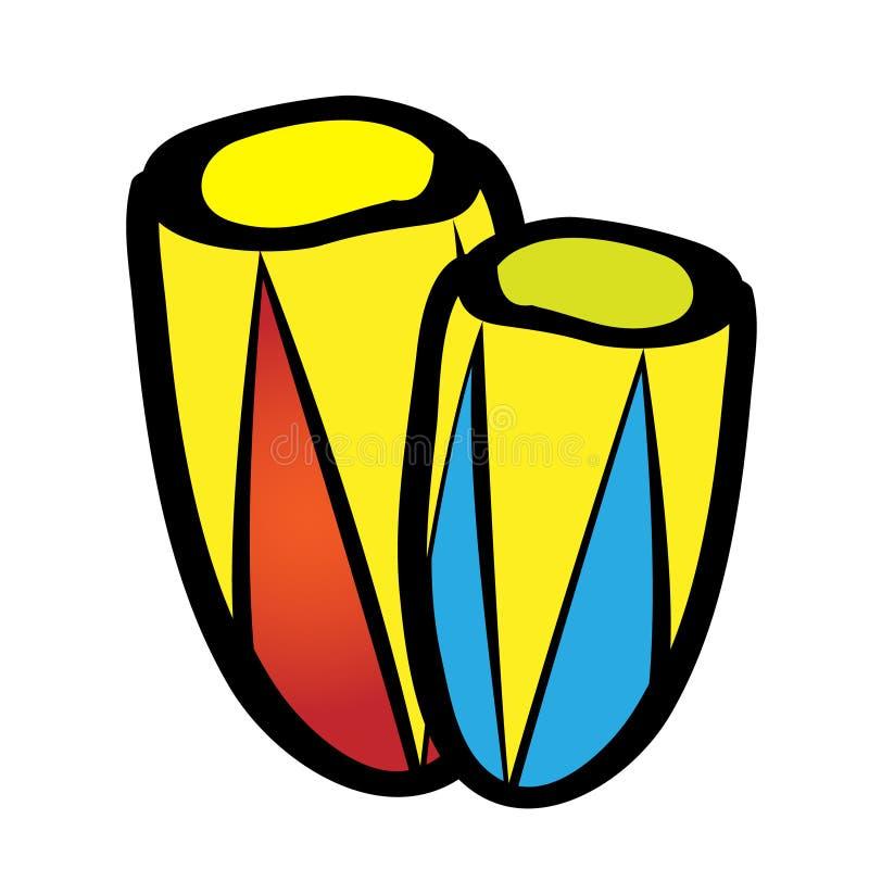 Les instruments de musique enormes de percussion de tambour dirigent l'icône plate Djembe a isolé sur le fond blanc Style mignon  illustration de vecteur
