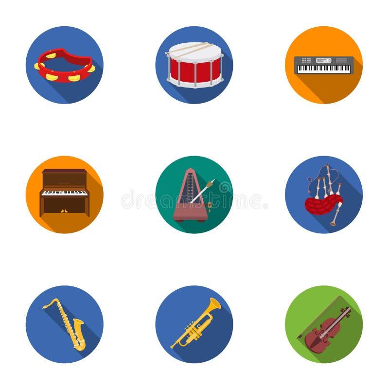 Les instruments de musique ont placé des icônes dans le style plat La grande collection d'instruments de musique dirigent l'illus illustration stock