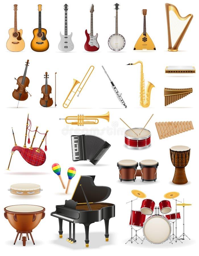 Les instruments de musique ont placé l'illustration courante de vecteur d'icônes illustration de vecteur