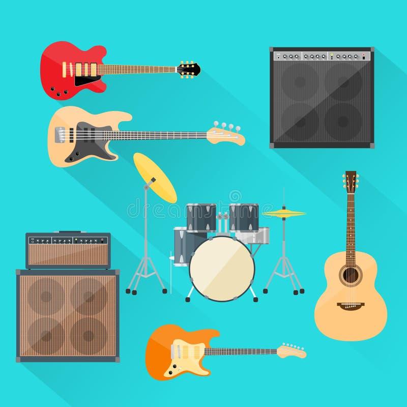 Les instruments de musique ont placé le groupe de rock de tambours de guitare illustration libre de droits
