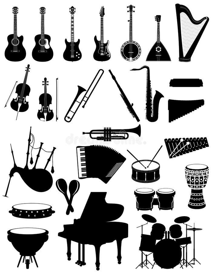 Les instruments de musique ont placé le vec noir d'actions d'ensemble de silhouette d'icônes illustration libre de droits