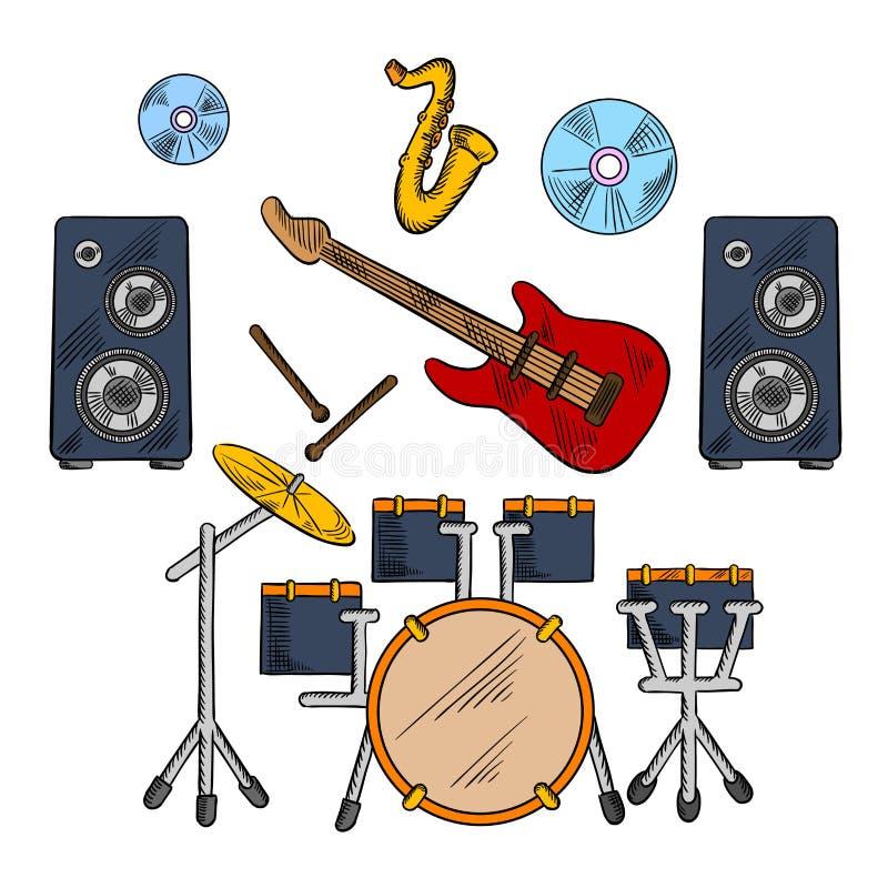 Les instruments musicaux de bande ont esquissé des icônes illustration de vecteur