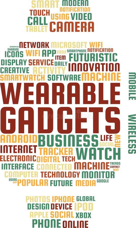 Les instruments portables expriment l'illustration des textes de nuage dans la forme d'un Smartwatch illustration libre de droits
