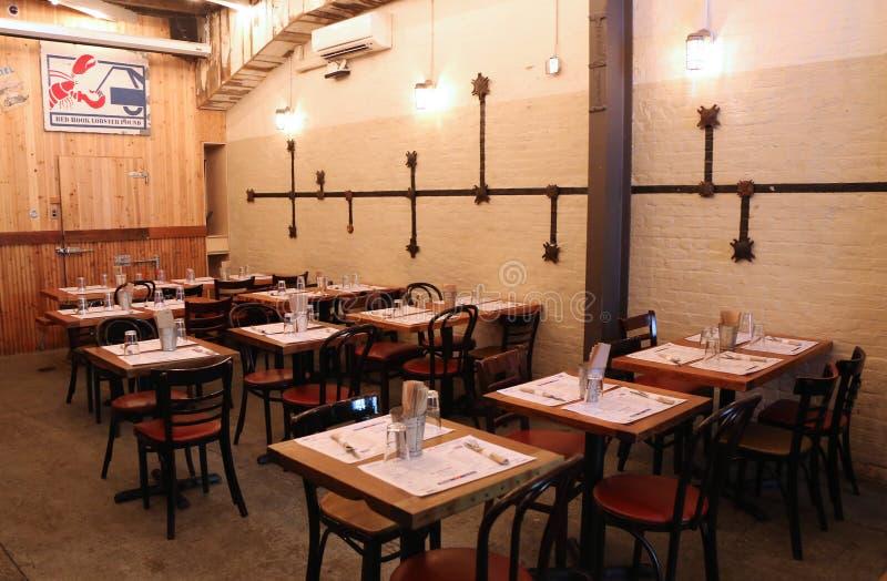 Les intérieurs du homard rouge célèbre de crochet martèlent le restaurant à Brooklyn, New York photos libres de droits