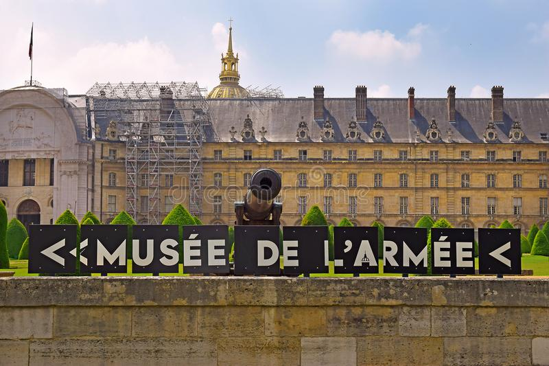 Les Invalides and Army Museum in Paris, France royalty free stock image