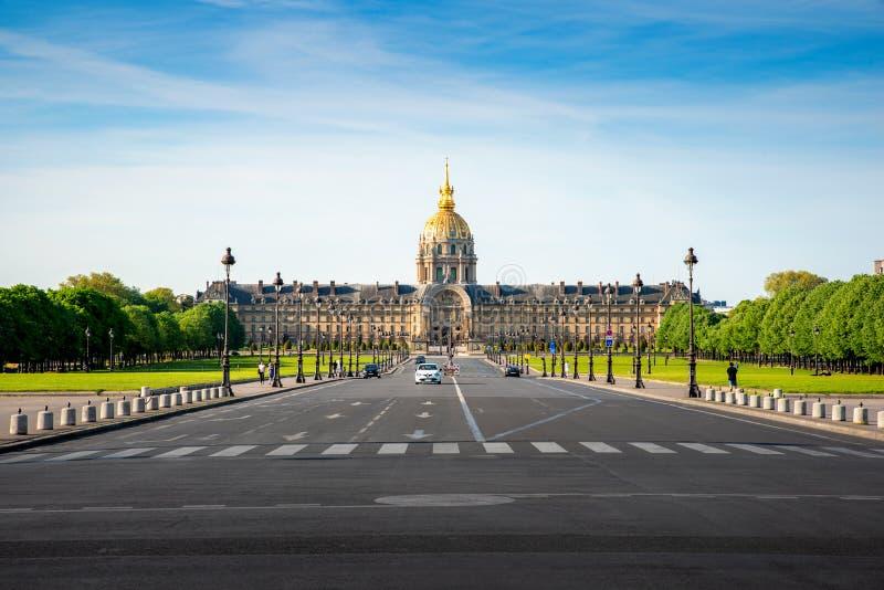 Les Invalides Krajowa siedziba Invalids - kompleks muzea i zabytki w Pary?, Francja zdjęcia royalty free