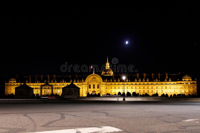 Les Invalides in Paris, France lit up at night stock image