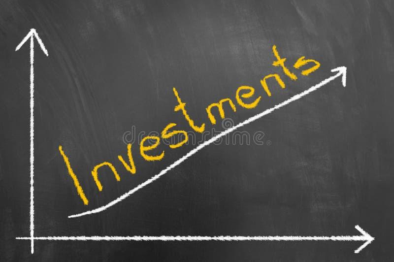 Les investissements marquent le texte et la flèche à la craie vers le haut du graphique sur le tableau noir images libres de droits
