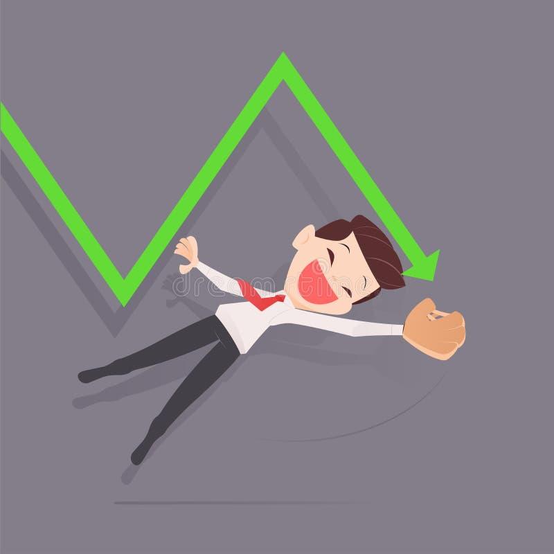 Les investisseurs sautent au marché boursier de chute illustration stock
