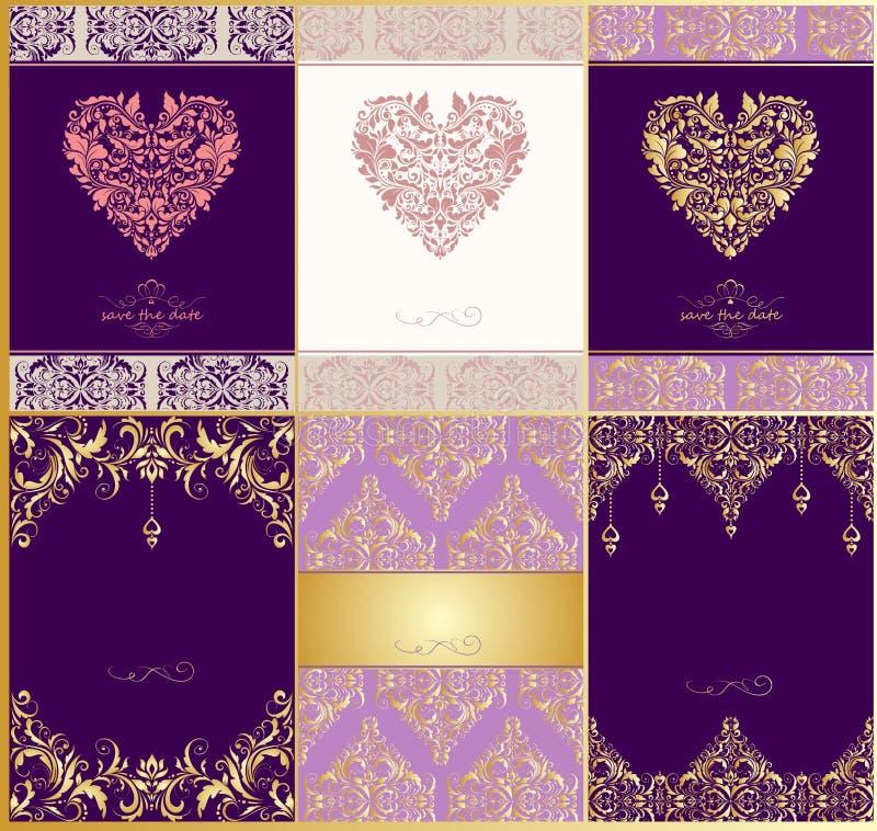 Les invitations de mariage avec le modèle et le coeur floraux de vintage forment illustration stock