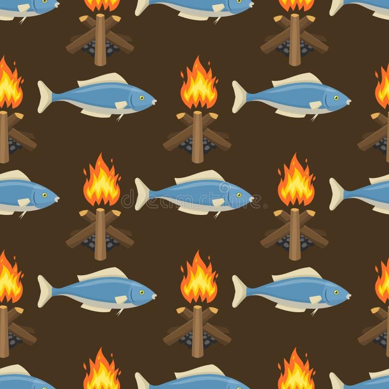 Les jaillissements sans couture de poissons d'illustration de flamme de brûlure de vecteur de modèle de feu du feu du fond orange illustration libre de droits