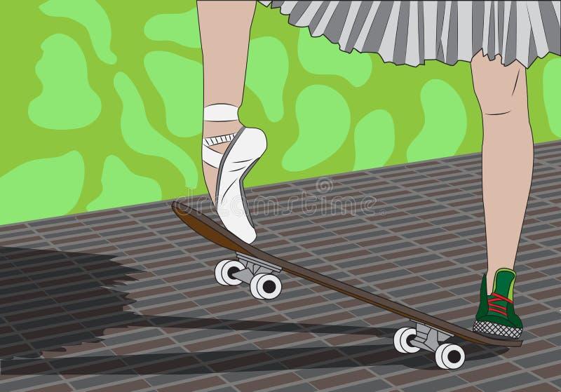Les jambes d'une ballerine sur une planche à roulettes illustration stock