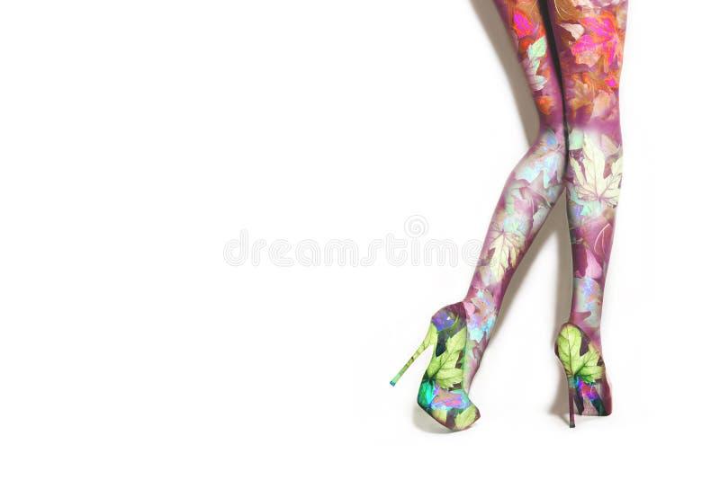 Les jambes de femme dans le talon haut chausse la compilation de photo images stock