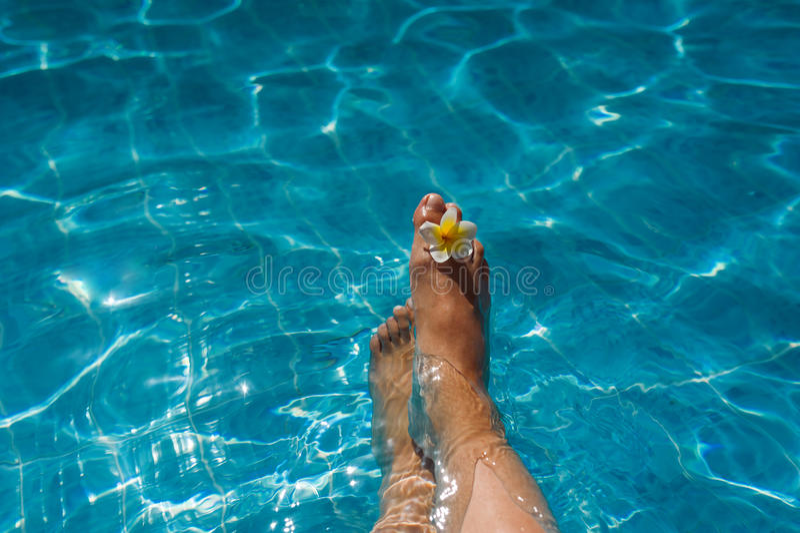 Les jambes de la femme avec la fleur dans la piscine bleue images stock