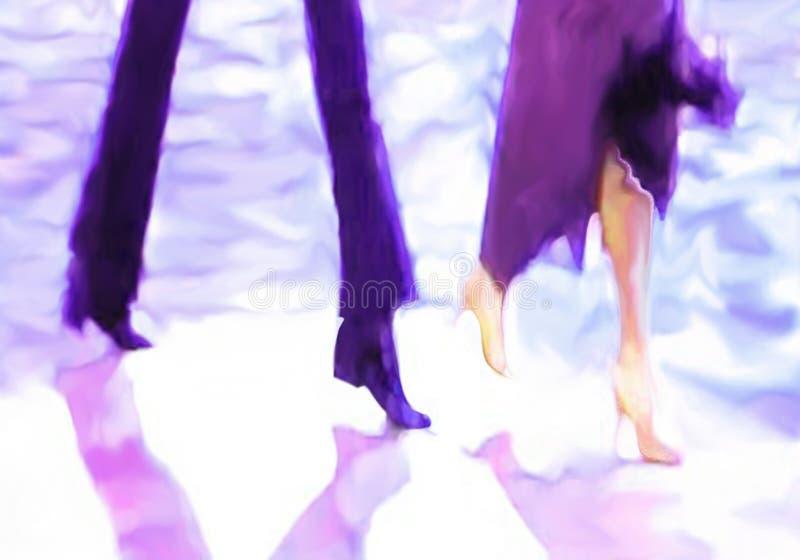 Les jambes masculines et femelles ont moulé des ombres dans le projecteur illustration stock