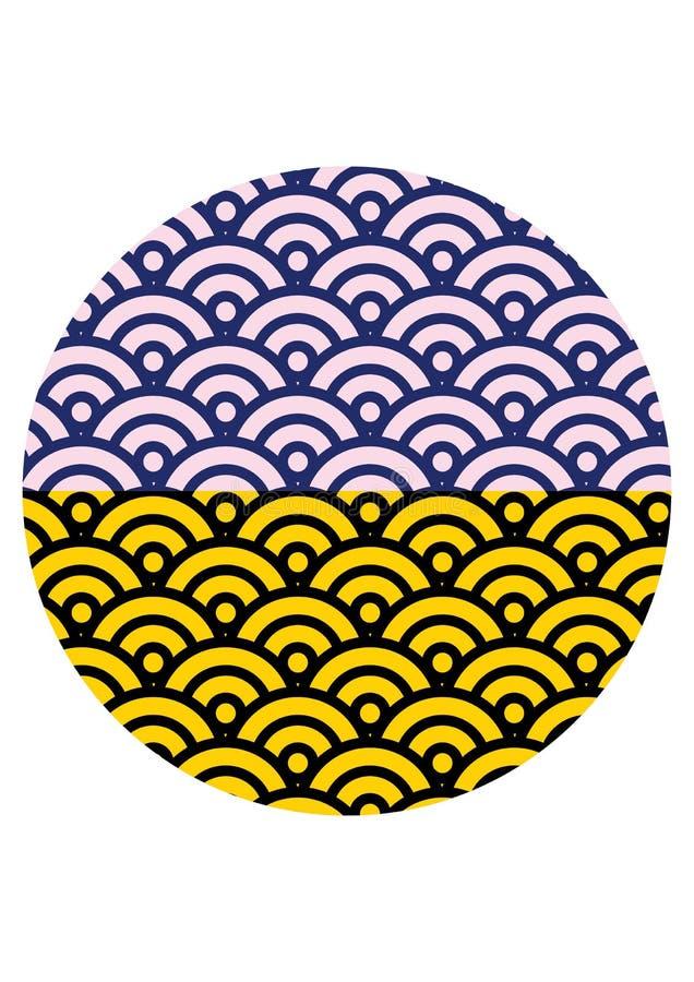 Les Japonais traditionnels ondulent la texture et le fond sans couture de modèle images stock