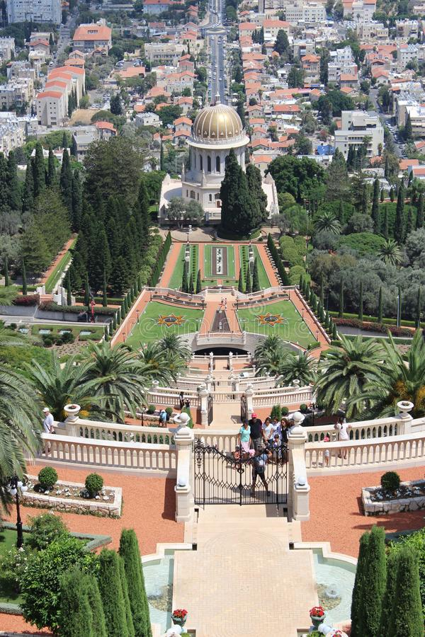 Les jardins de Bahai images libres de droits
