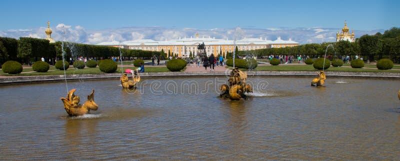 Les jardins du palais grand de Peterhof à St Petersburg images stock