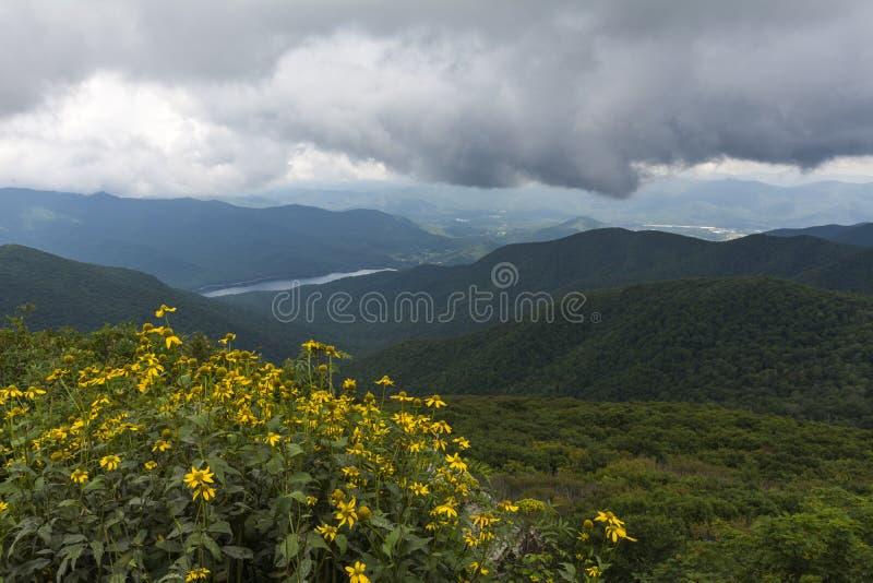 Les jardins rocailleux donnent sur, Asheville la Caroline du Nord images libres de droits