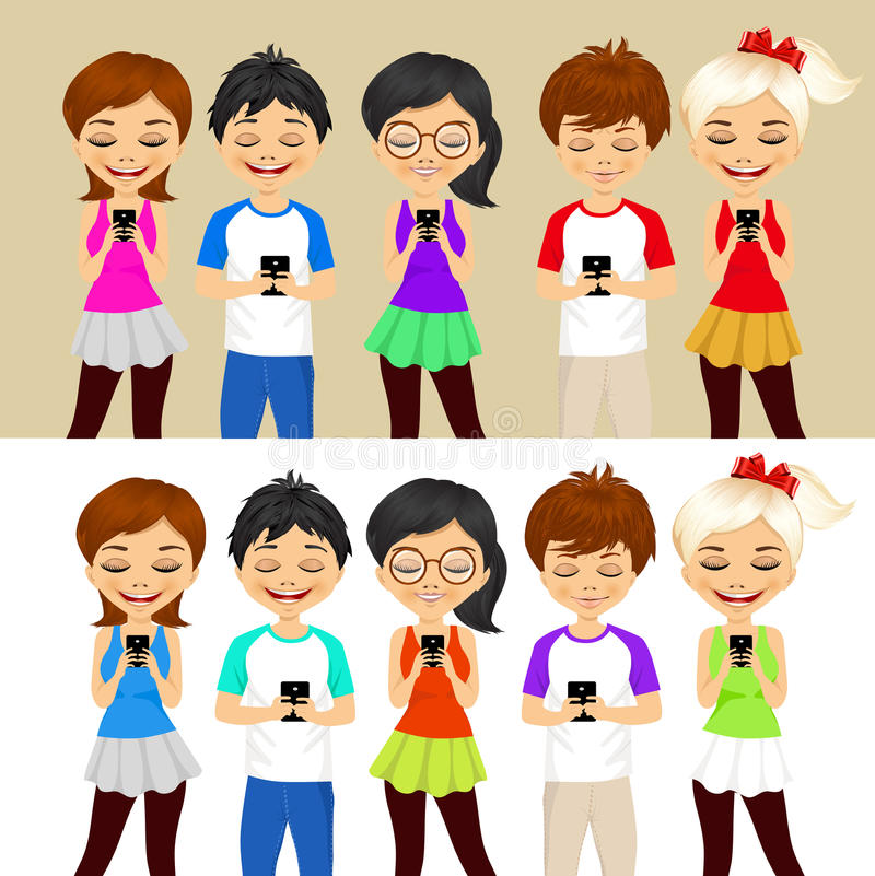 Les jeunes à l'aide des téléphones portables illustration libre de droits