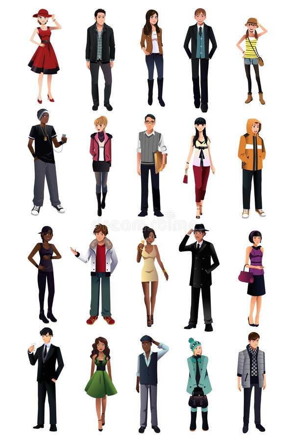 Les jeunes élégants de l'appartenance ethnique différente illustration de vecteur