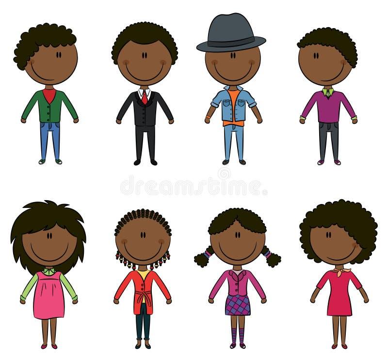 Les jeunes afro-américains élégants modernes illustration libre de droits