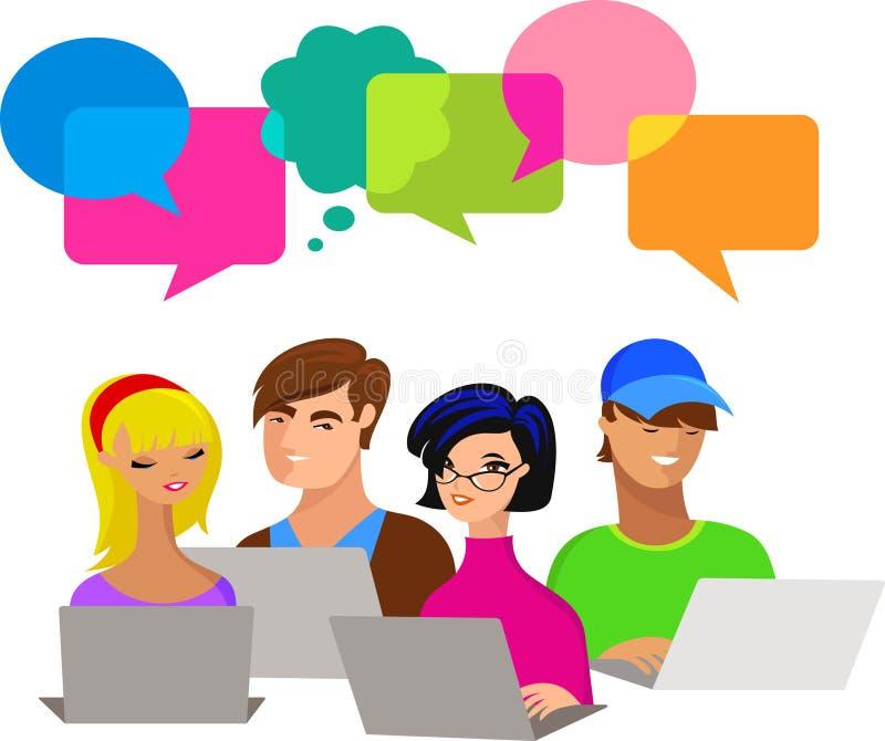 Les jeunes avec des bulles et des ordinateurs de la parole illustration stock